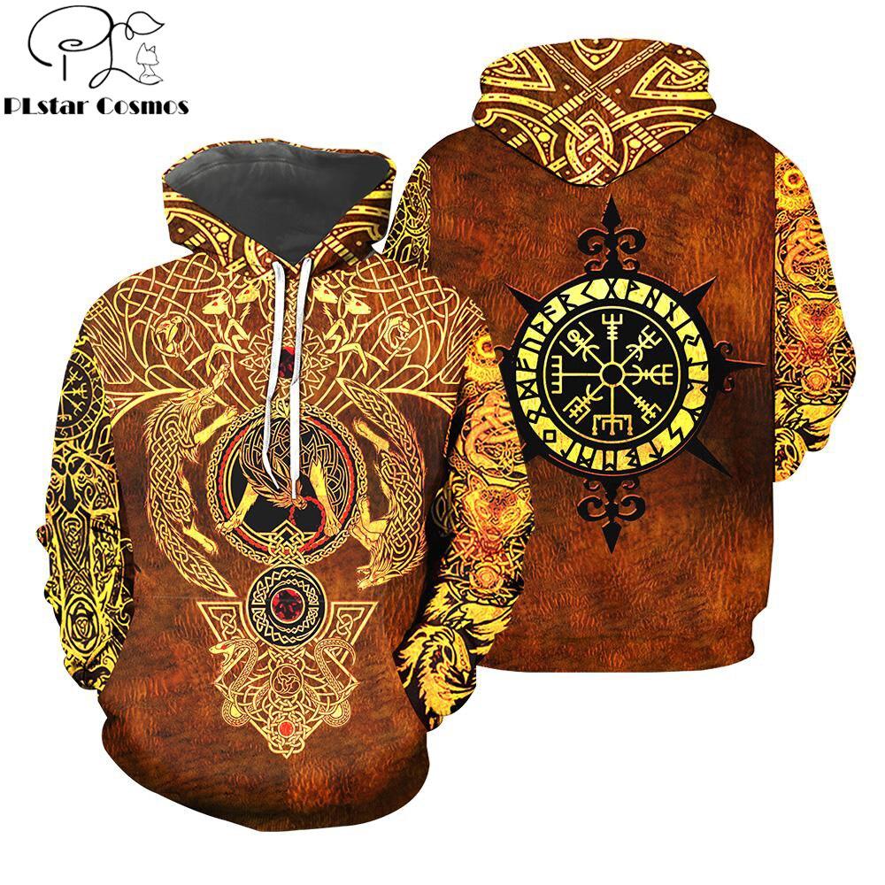 2019 New Fashion Hoodies Viking Tattoo 3D Printed Sweatshirt - Hoodie Sweatshirt For Men/Women Casual Streetwear Sudadera Hombre