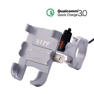 Image 2 - Vmonv Rorating אופנוע כידון טלפון מחזיק USB מהיר מטען 3.0 אופניים אחורית Stand עבור 4 6.5 אינץ טלפון נייד הר