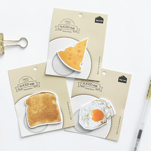 4pcs Sliced Pizza Sticky Note Egg Cheese Meat Toast Memo Pad Guestbook Journal Diary Sticker Stationery School Supplies H6371