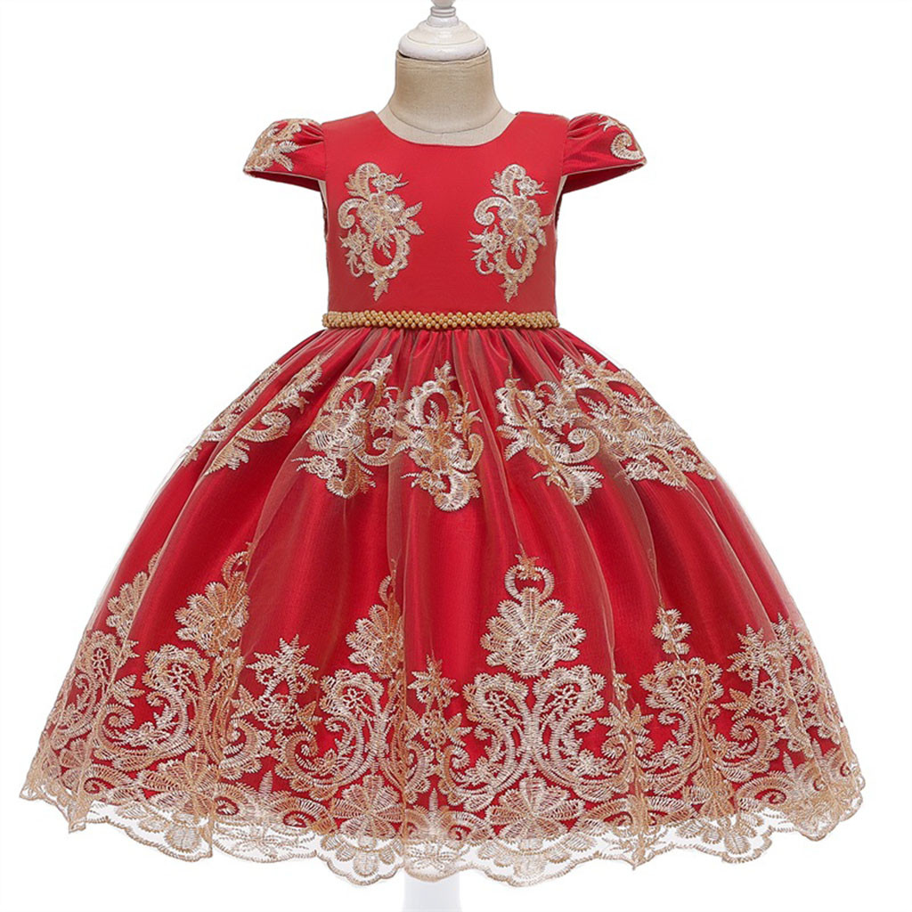 Kid Child Girls 18 Months-6T Lace Floral Princess Wedding Performance Formal Dress Clothes