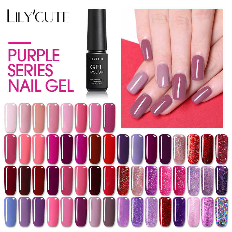 Vernizes híbridos lilycute gel uv verniz tudo para manicure semi permanente embeber fora 7 ml gel lak superior base laca do prego