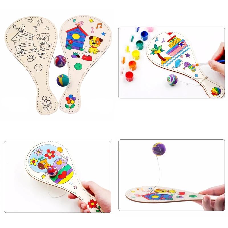 DIY Graffiti Toys Children Manual Painting Wooden Ball Pat Educational Game LG