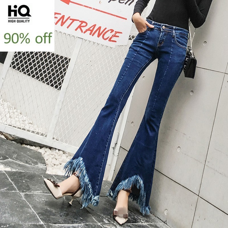 Personality Tassel Flare Jeans Women Autumn Winter Slim Vintage Bell-Bottomed Pants Casual Blue Zipper Office Denim Trousers