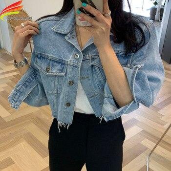 Crop Denim Jacket Women 2020 Spring Summer New Arrival Bottom Tassel Loose Blue Jeans Short Coat