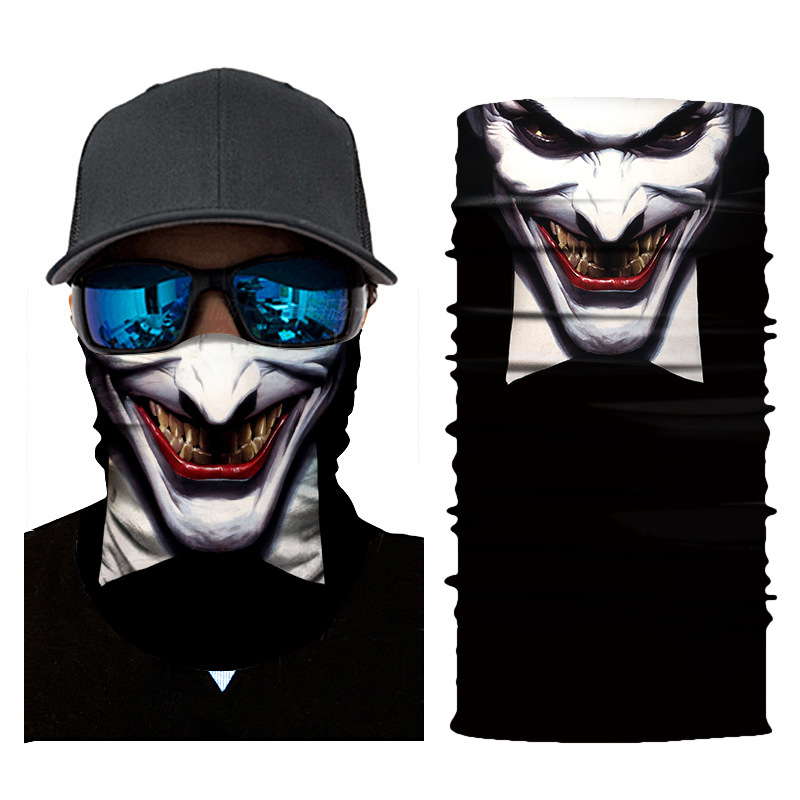 1pc Mouth Face Mask 3D Joker Print Balaclava Head Cover Cyclinging Face Mask Head Hair Band Hood Scarf Pirate Hat Wristbands