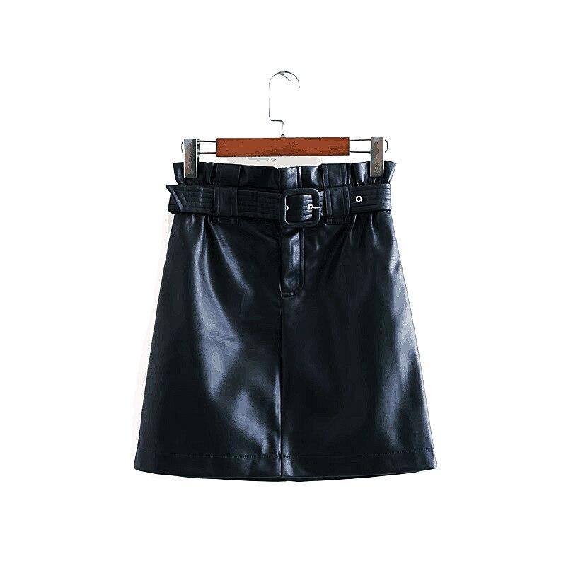 2020 Women Chic PU Leather Mini Summer Short Green Mini Skirt Sexy With Belt Zipper Slim Vintage Streetwear Casual Skirts Mujer
