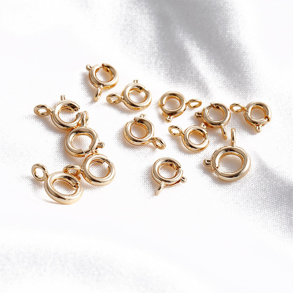 10PCS Lobster Clasp Spring Clasps for Jewelry Making Supplies Findings DIY Bracelets Necklaces 14K Gold Plated Brass Accessories