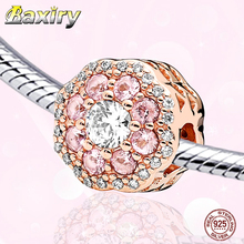 925 Sterling Silver Rose Gold Beads Fine Charm Bracelet DIY Beads Fit Bracelet Charms Silver 925 Original Beads Jewelry Making