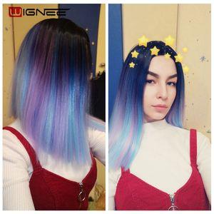 Image 2 - Wignee pelucas sintéticas de pelo liso corto, mezcla de morado/azul, peluca arcoíris negra Natural, Cosplay sin pegamento, pelucas para uso diario