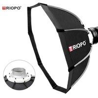 Tüketici Elektroniği'ten Softbox'de Triopo 65cm taşınabilir Bowens dağı sekizgen şemsiye Softbox + taşıma çantası fotoğraf stüdyosu flaş açık fotoğrafçılık yumuşak kutu