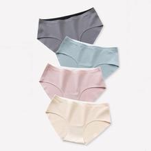 цена на Wasteheart Spring Women Fashion Green Cotton Mid Waist Panties Underwear Lingerie One-Piece Seamless Briefs Underpants M L XL