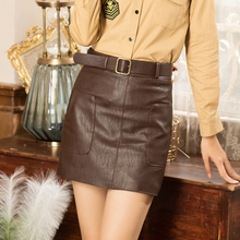 High Waist Vintage PU Leather Mini Pencil Skirts With Belt 2020 Autumn Winter Streetwear Retro A-Line Skirt Female Saias AQ655(China)
