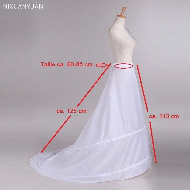 Train Hoop Skirt New 2 Rings White Wedding Dress Underskirt Petticoat