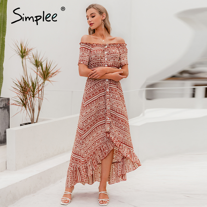 Simplee Buttons Off Shoulder Women Midi Dress High Waist Geometric Print Female A-line Dress Spring Summer Ladies Beach Dresses