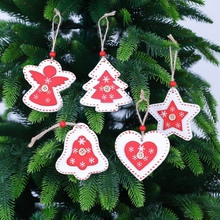 3pcs Christmas Wooden Ornament White Red Painted Tree/Heart/Star Pendant For Party Xmas Tree Hanging Decoration
