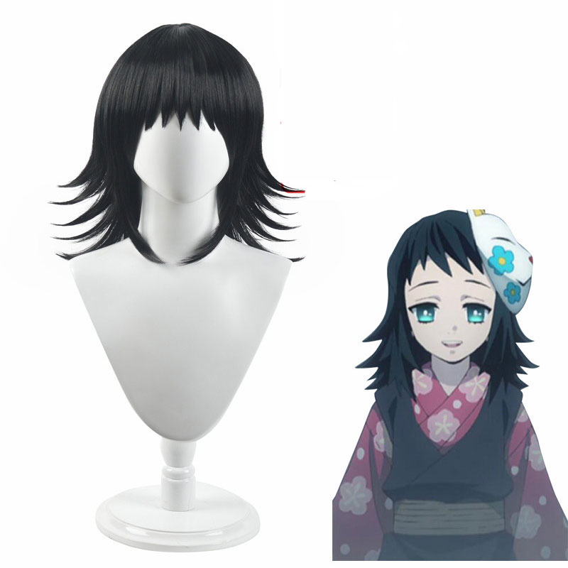 Anime Comic Demon Slayer Makomo Cosplay Costume Wig Kimetsu No Yaiba Adult Short Black Headdress Heat Resistant Synthetic Hair