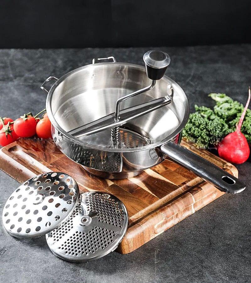 Ручная Картофельная мельница из нержавеющей стали вращающаяся пищевая мельница отлично подходит для приготовления пюре или супов овощей п...