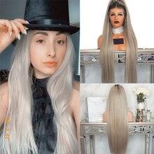 Anogol Ombre אפר בלונד ארוך ישר סינטטי תחרה מול פאה עם תינוק שיער עבור למבוגרים נשים התיכון חלק
