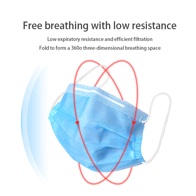 200pcs Certification Disposable mask 3-Layer Non-woven Disposable Soft Breathable Flu Hygiene Face Mask Features as 4
