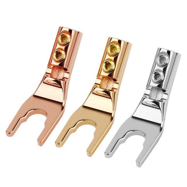 Conector macho de cable de soldadura con conector de Banana de horquilla U/Y, Terminal de altavoz de cobre chapado en oro, adaptador de Audio Hifi Y conector tipo Jack DIY