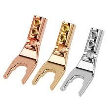U/Y Fork Spadeกล้วยปลั๊กบัดกรีสายไฟทองแดงชุบทองแดงลำโพงอะแดปเตอร์เสียงHifi Yประเภทแจ็คDIY