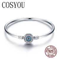 COSYOU High Quality Authentic 925 Sterling Silver Blue Eyes Clear CZ Snake Chain Heart Bangle & Bracelet Luxury Jewelry SCB012