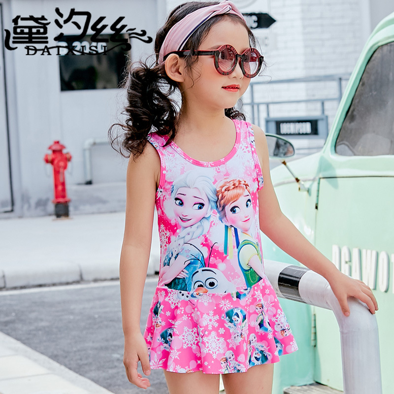 Princess Cartoon Children Siamese Swimsuit GIRL'S Sun-resistant UV-Protection Girls' Surf Clothing Baby Cute Swimwear