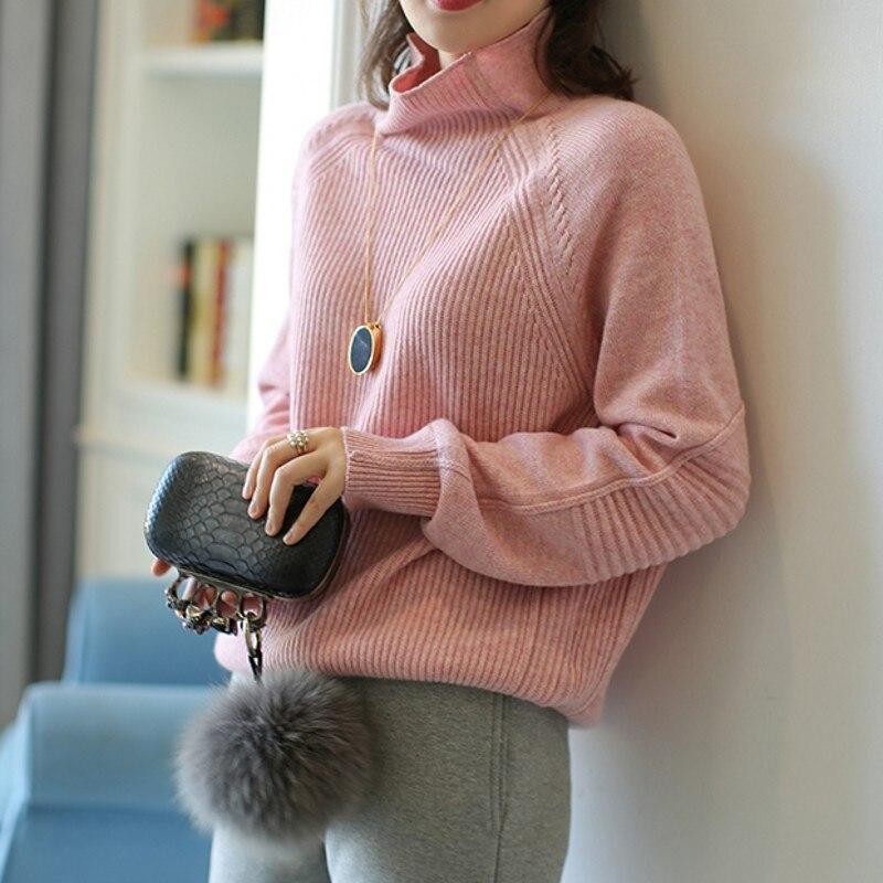 Женский свободный удобный кашемировый свитер с высоким воротом, однотонный вязаный пуловер с длинным рукавом, зимний джемпер, свитер, Новин
