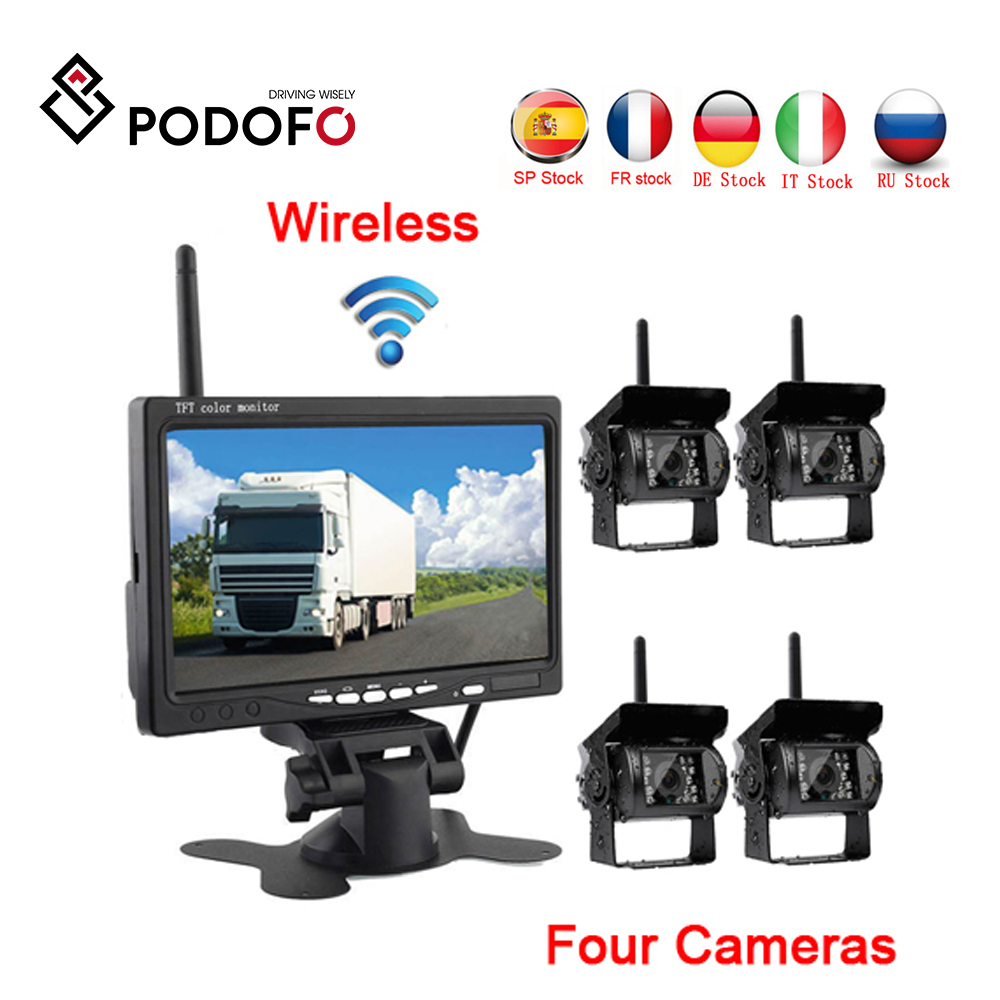 """Podofo Wireless 4 Backup Cameras IR Night Vision Waterproof with 7"""" Rear View Monitor for RV Truck Bus Parking Assistance System-in Vehicle Camera from Automobiles & Motorcycles"""
