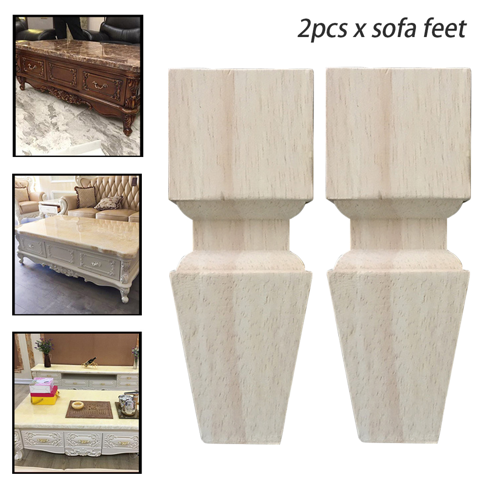 2pcs Rubber Wood Non Slip Home Sofa Foot Legs Stable European Style Support Practical Universal Cabinet Table Solid Furniture