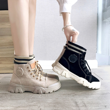 Autumn Martin boots female British style spring single boots 2020 new fashion comfortable wild flat boots tide shoes short boots 2020 autumn new lace up platform martin boots female british style short boots female leather boots female leather female boots