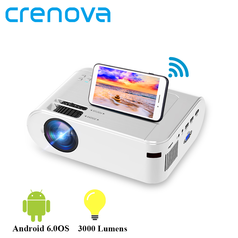 CRENOVA Mini Projector M01  Optional Android 6 0 M01C  3000 Lumens for Phone Projector Support 1080P Full HD 3D LED Projector