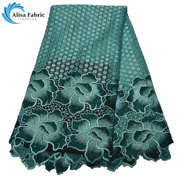 Alisa New Arrived African Cord Lace Fabric with Embroidery Lace Nigeria Guipure Lace Fabric With Stones For Fashion Big Occasion