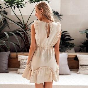 Image 4 - Simplee Sleeveless ruffled women dress High waist belt o neck a line summer dress Cotton solid female spring office mini dress