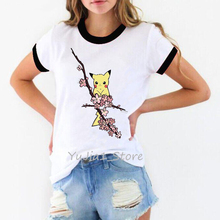 Vintage t shirt women clothes 2019 Flowers cute animals print t-shirt camiseta mujer  harajuku vogue white tshirt femme