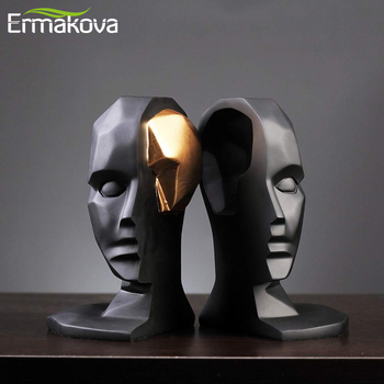 ERMAKOVA Creative Brain Hole Wide Open Statue Character  Abstractive Resin Crafts Gifts Figurines Home Decoration Accessories