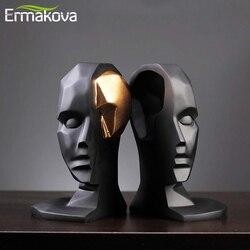 ERMAKOVA kreatywny otwór mózgu szeroki otwarty posąg charakter abstrakcyjne rzemiosło żywiczne prezenty figurki akcesoria do dekoracji wnętrz w Figurki i miniatury od Dom i ogród na