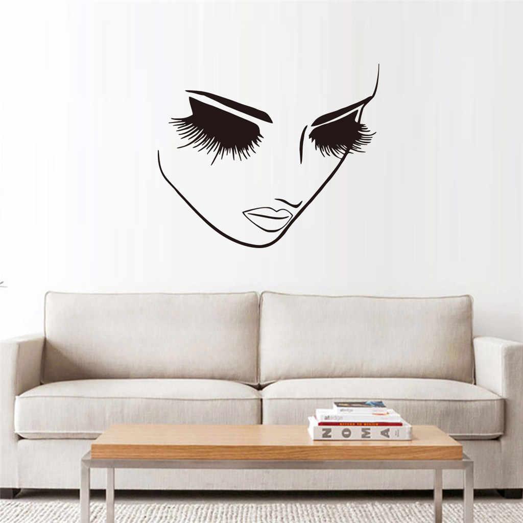 Cantik Bulu Mata Stiker Dinding Gadis Kamar Ruang Tamu Dekorasi untuk Rumah Wallpaper Mural Seni Decals Seksi Stiker