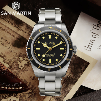 San Martin Diver Watch 6200 Retro Water Ghost Luxury Sapphire NH35 Men Automatic Mechanical Watches 20Bar Waterproof Luminous 2