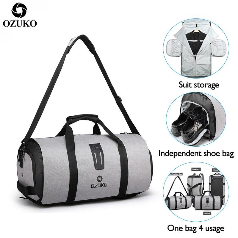 Ozuko multifunction men bolsa de viagem grande capacidade à prova dwaterproof água duffle saco terno saco de armazenamento mão viagem sacos de bagagem com bolsa de sapato