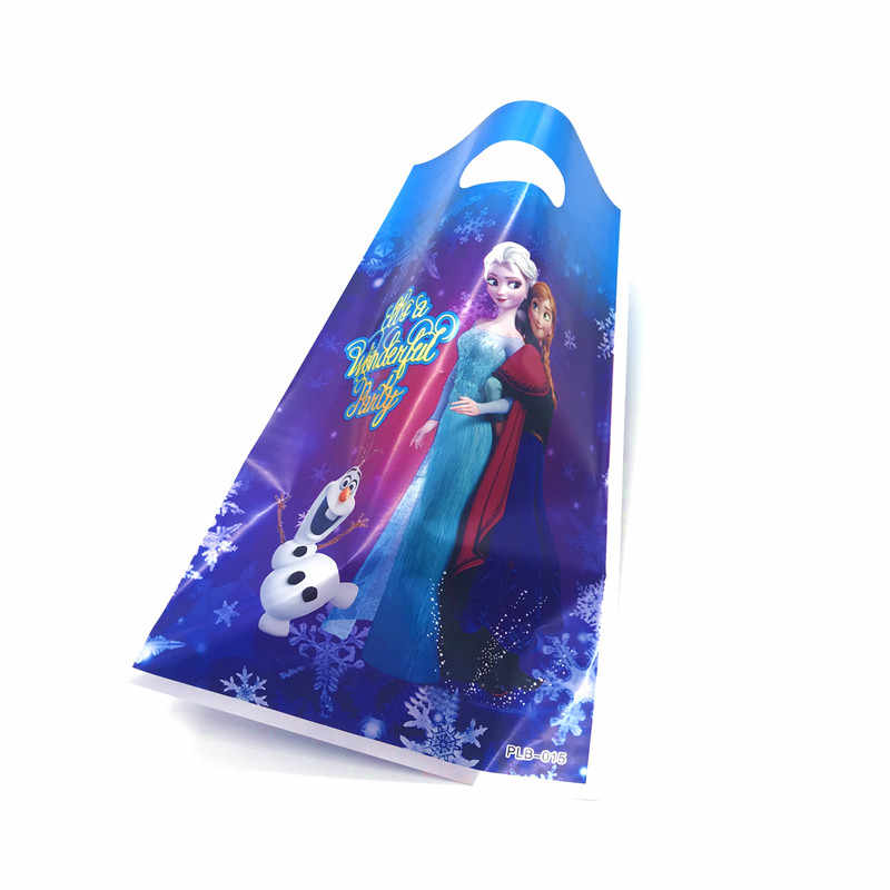 10pcs 16.5*25cm Plastic Gift Bags Frozen 2 Princess Elsa Olaf Loot Bag Kid Boy Birthday Party Supplies Cartoon Theme Decorations