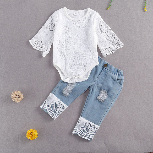 New Fashion 0-24M Baby Girls Fall Clothes Long Sleeve Lace Romper Suit Triangle Crotch Lace Top  Hole Long Jeans 2Pcs Outfit 2