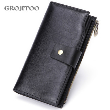 GROJITOO  New Men's Multi-card Fashion Casual Business Long Genuine Leather Wallet Zipper Coin Purse Card Bag Male Walet Pocket - discount item  42% OFF Wallets & Holders