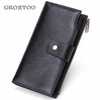 GROJITOO New Men\'s Multi-card Fashion Casual Business Long Genuine Leather Wallet Zipper Coin Purse Card Bag Male Walet Pocket - DISCOUNT ITEM  47 OFF All Category