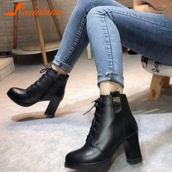 KARINLUNA Brand New Ladies Party Ol Boots Women 2020 Fashion High Heels Platform Ankle Boots Genuine Leather Shoes Woman