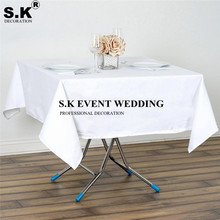 White Black Color Square Polyester Tablecloth Banquet Wedding Table Cloth For Wedding Banquet Decoration
