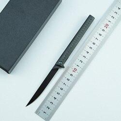 LEMIFSHE mały długopis nóż składany Flipper M390 stali nierdzewnej uchwyt z włókna węglowego na zewnątrz camping kuchenny owoc narzędzie nóż EDC