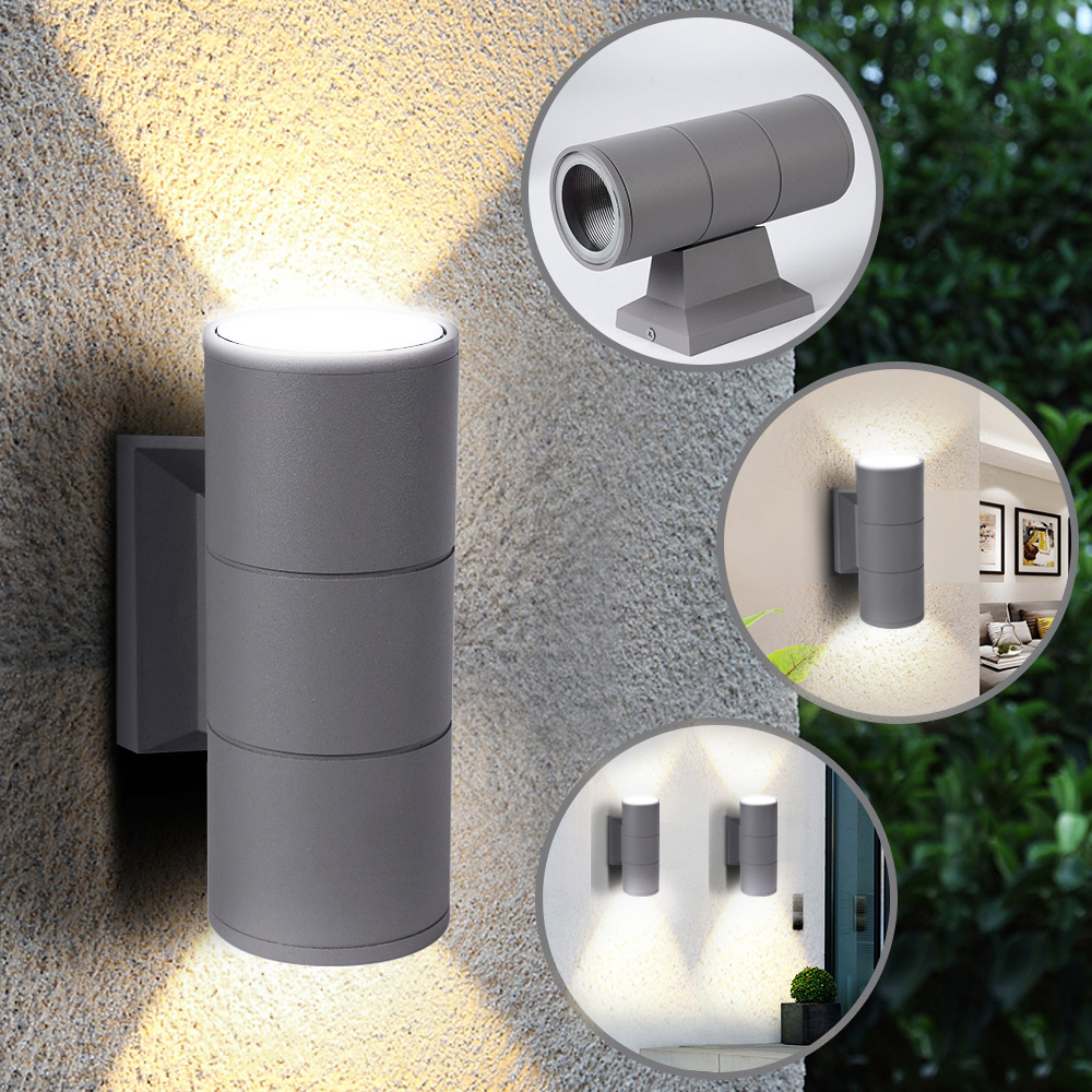 IVYSHION 2PCS Up And Down Wall Light Scrub Black Grey Outdoor Garden Door Lamp Waterproof Patio Lights Double Head Wall Light