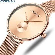 CRRJU Reloj Mujer Luxury Brand Women's Watches Simple Fashio