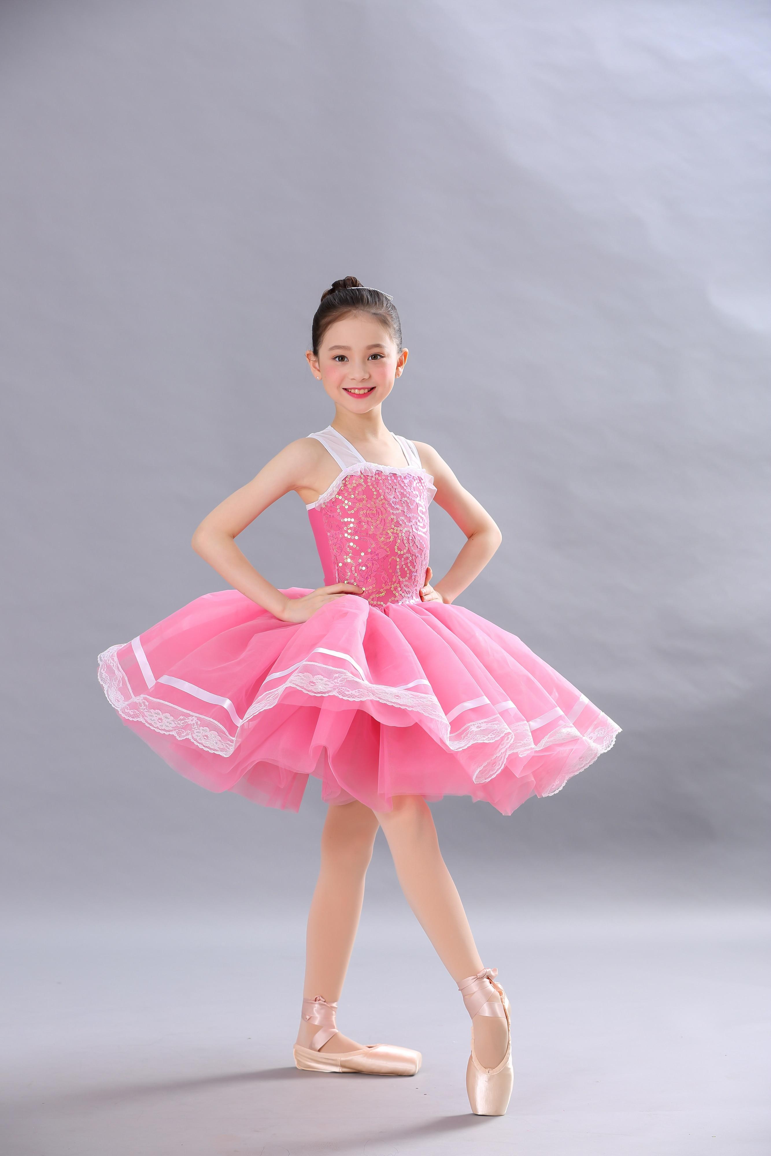 Jupe tutu de ballet rose paillettes belle fille danse porter fleur rose tulle danse costume justaucorps de gymnastique pour les filles